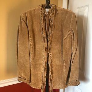 Chico's beige suede fringe jacket Size 4-6